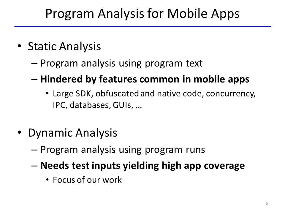 Program Analysis for Mobile Apps