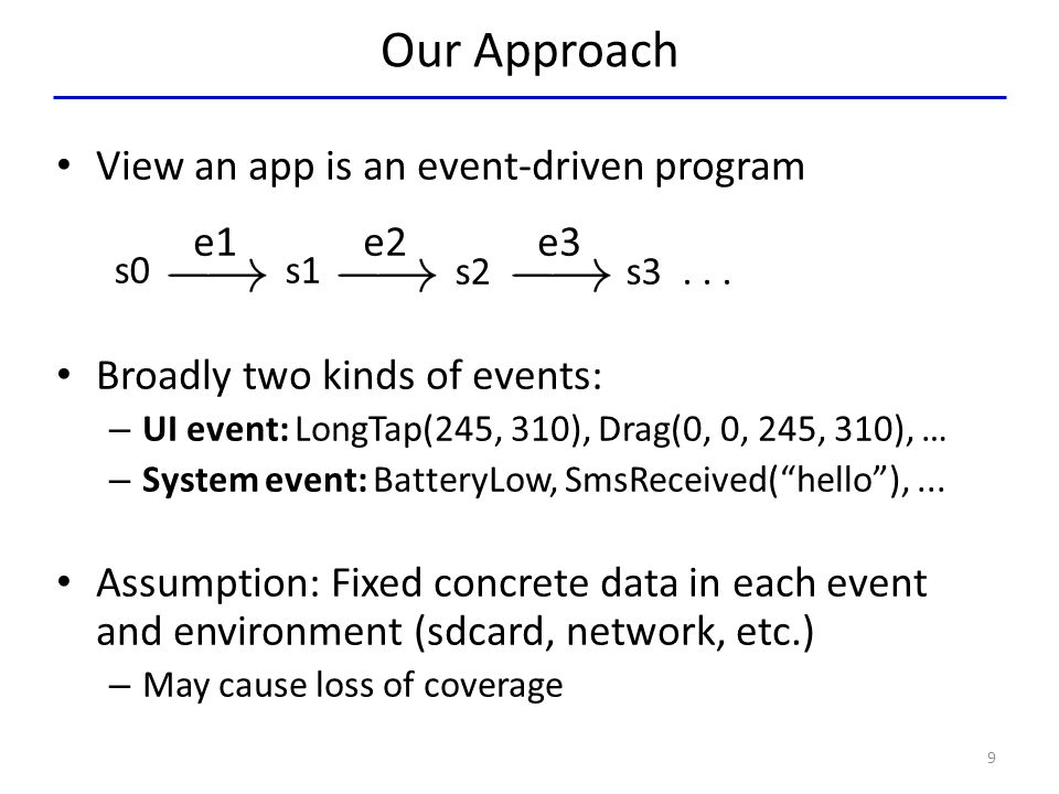 Our Approach View an app is an event-driven program