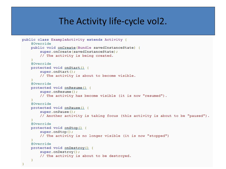 The Activity life-cycle vol2.