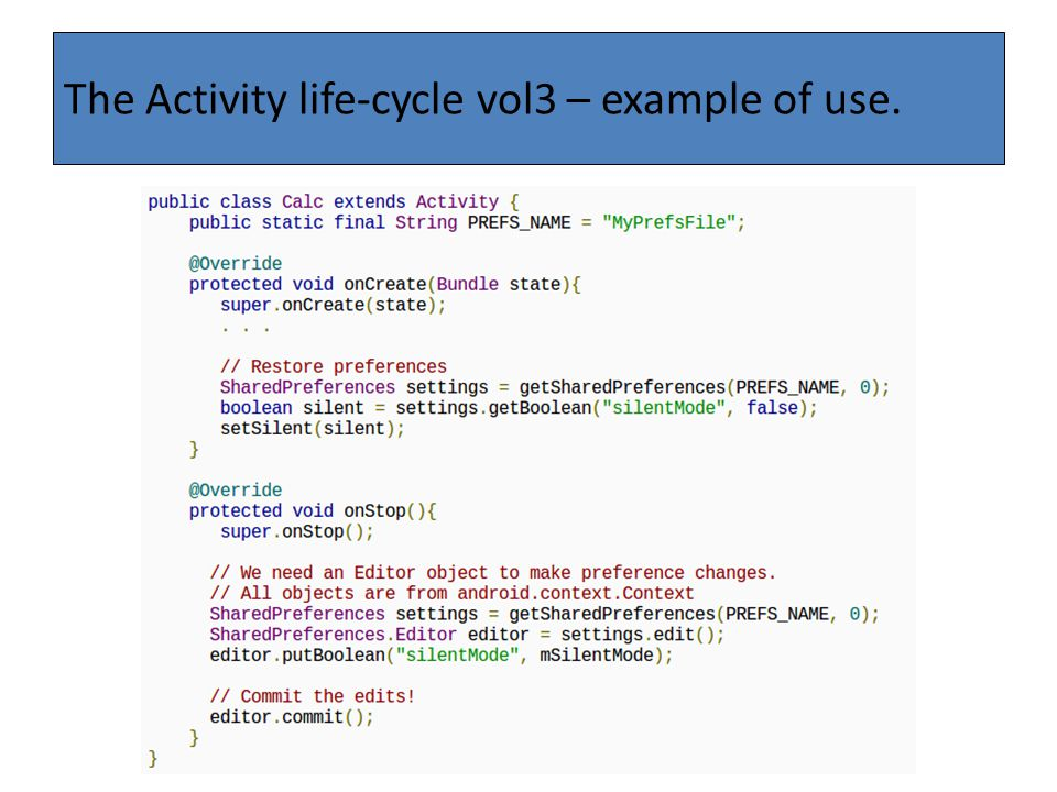 The Activity life-cycle vol3 – example of use.