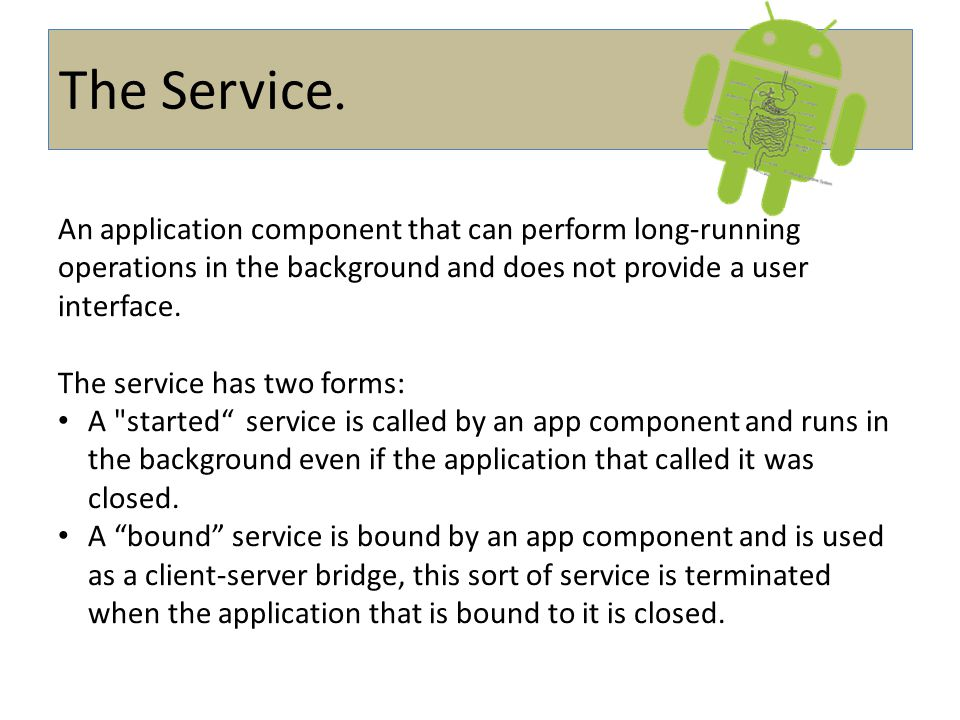 .The Service An application component that can perform long-running operations in the background and does not provide a user interface.