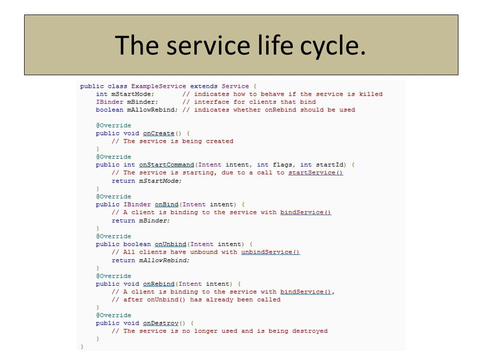 The service life cycle.