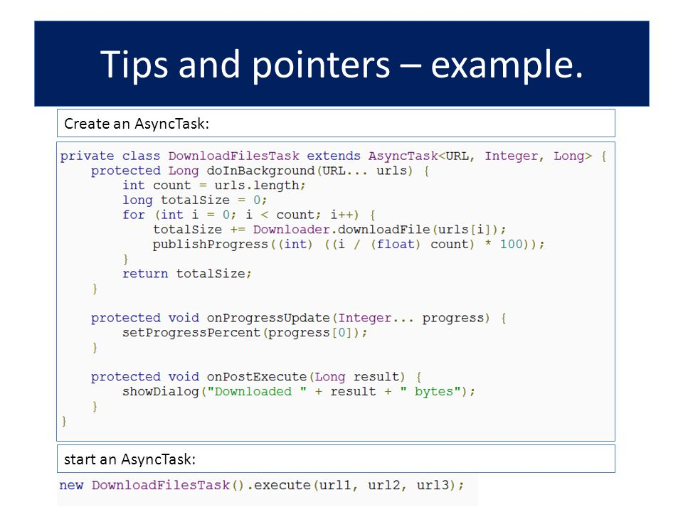 Tips and pointers – example.