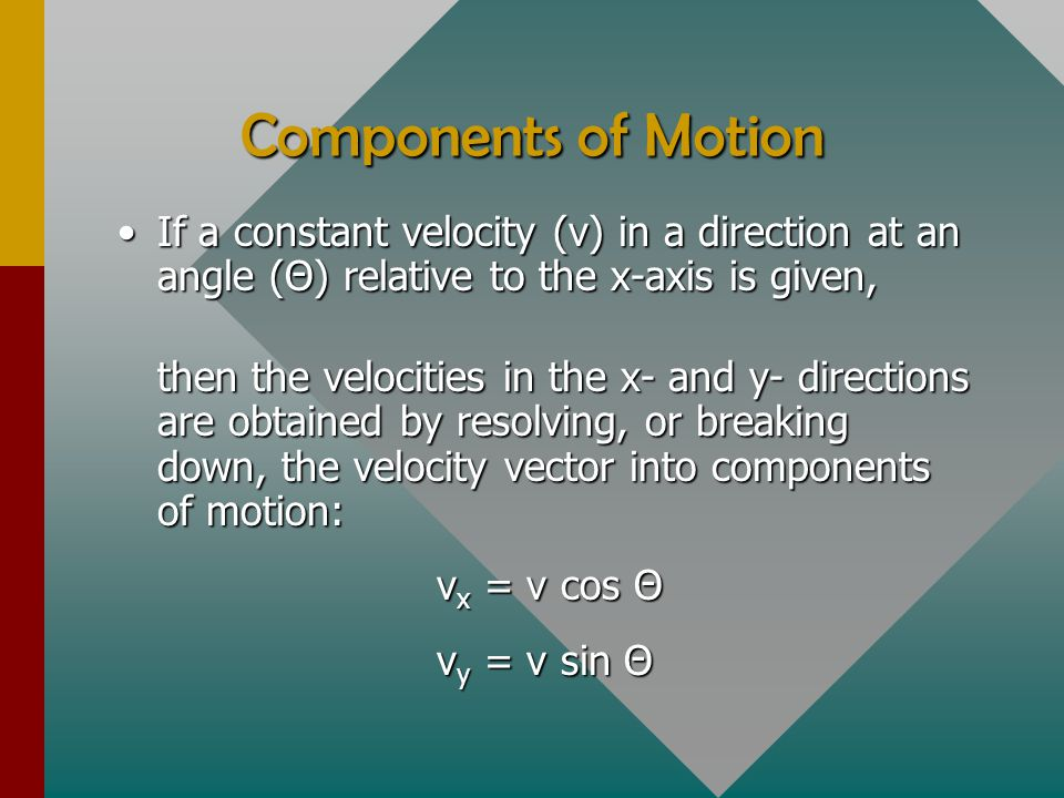 Components of Motion If a constant velocity (v) in a direction at an angle (Θ) relative to the x-axis is given,