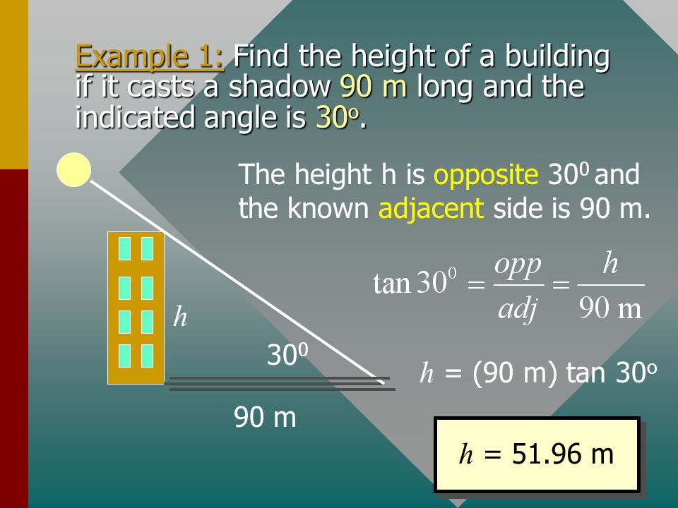 Example 1: Find the height of a building if it casts a shadow 90 m long and the indicated angle is 30o.