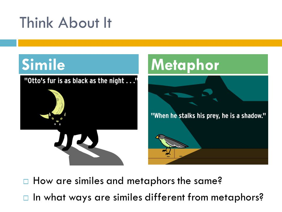 Think About It Simile Metaphor How are similes and metaphors the same