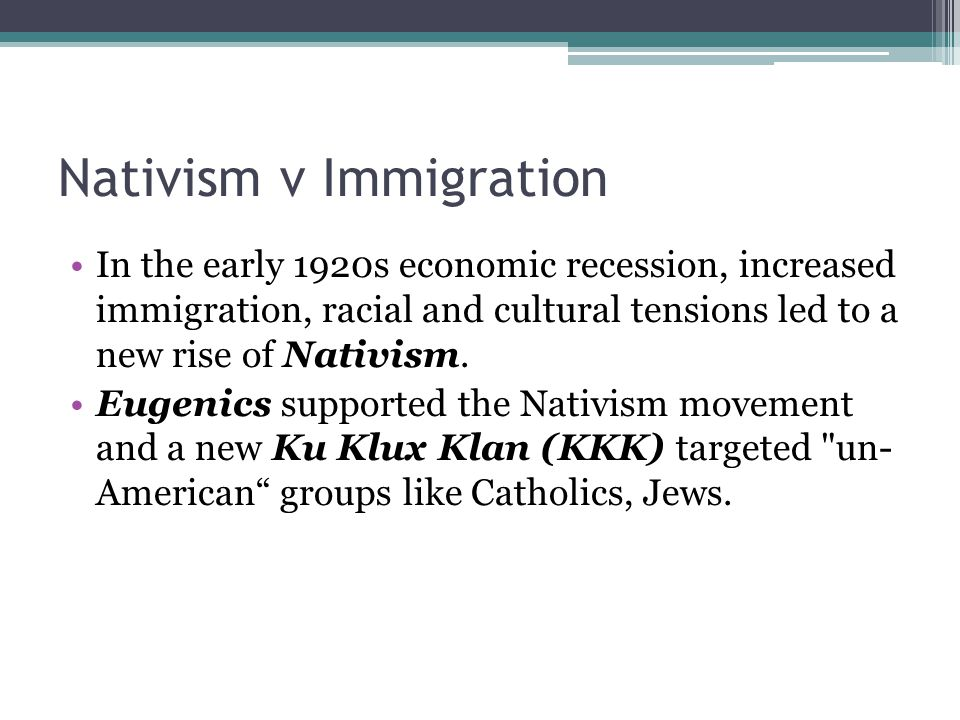 Nativism v Immigration