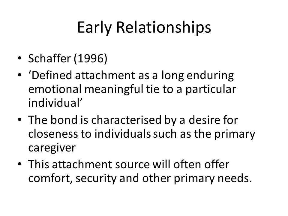 Early Relationships Schaffer (1996)