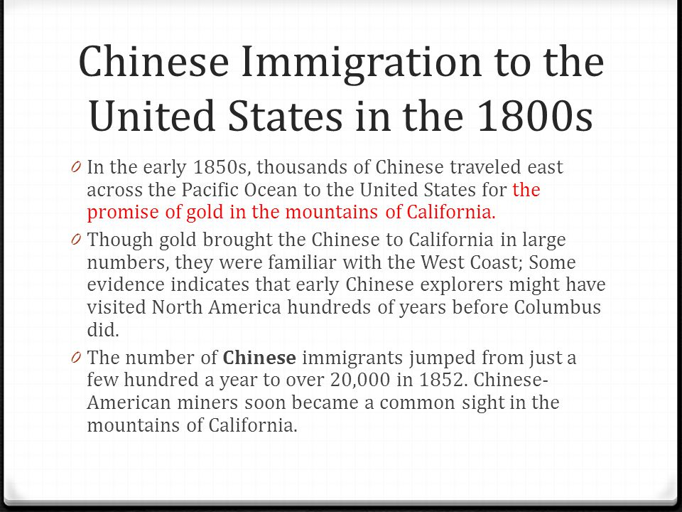 Chinese Immigration to the United States in the 1800s