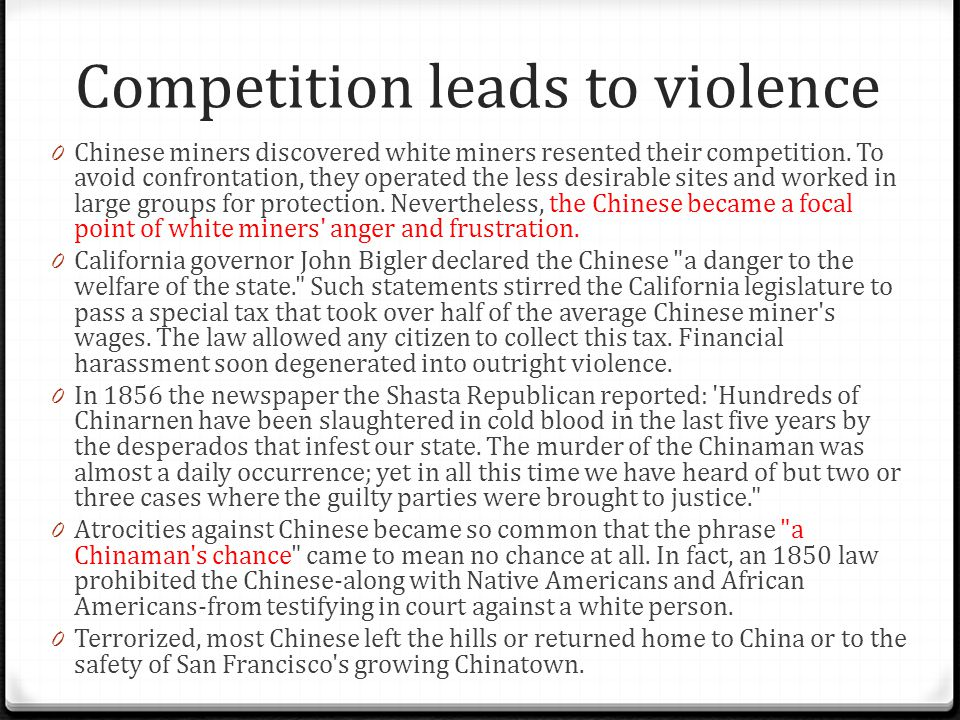 Competition leads to violence