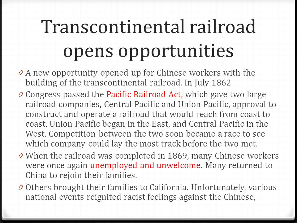 Transcontinental railroad opens opportunities