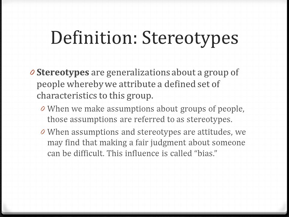 Definition: Stereotypes
