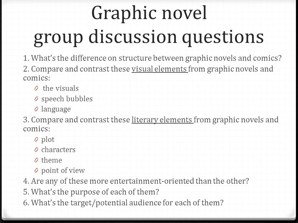 Graphic novel group discussion questions