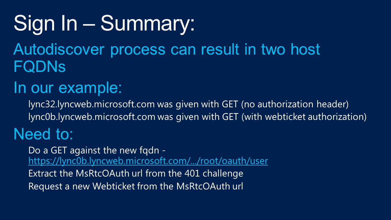 Sign In – Summary: Autodiscover process can result in two host FQDNs