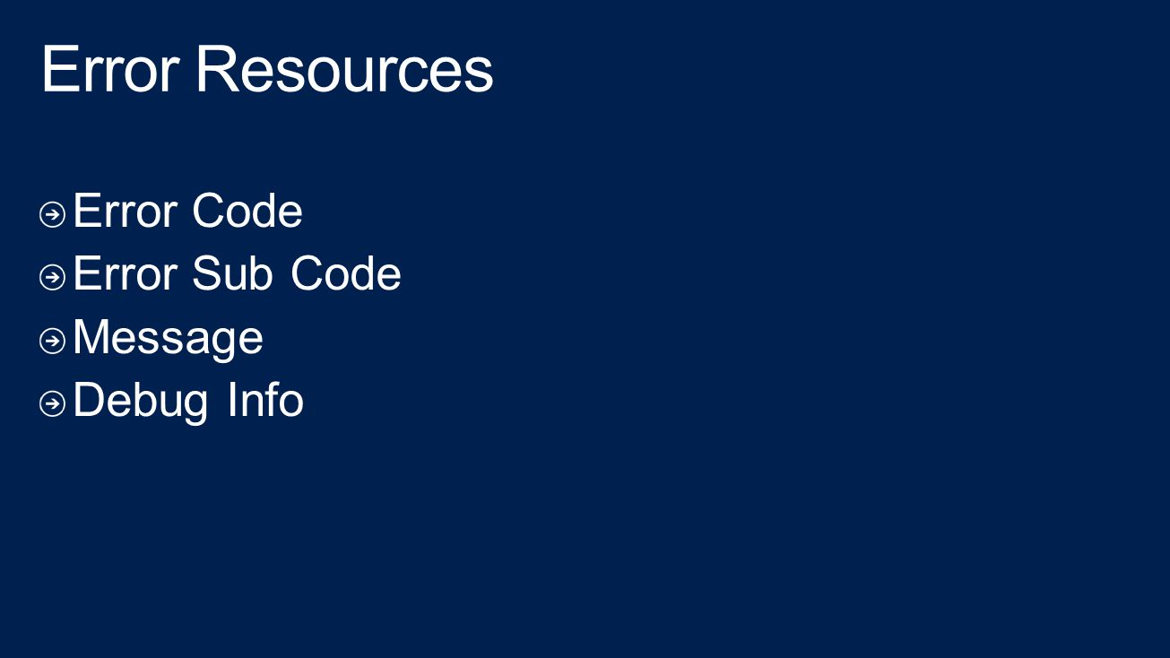 Error Resources Error Code Error Sub Code Message Debug Info