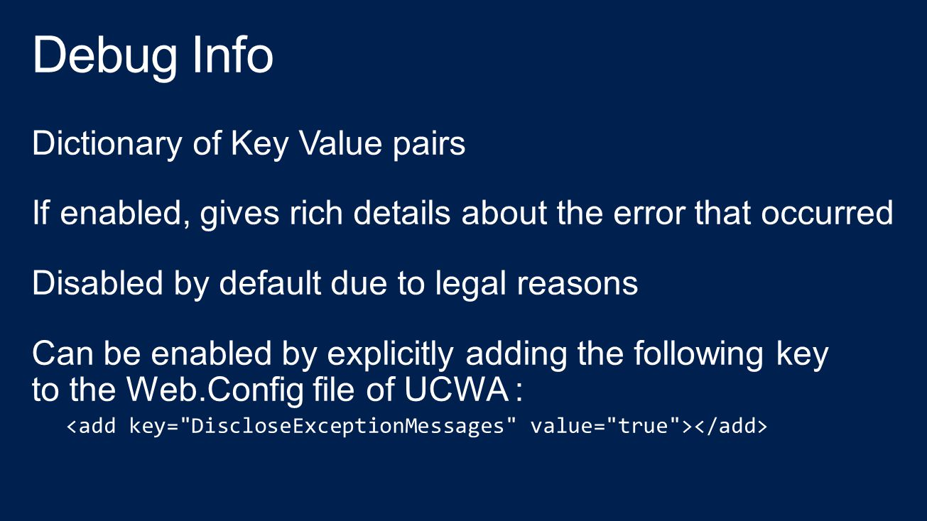 Debug Info Dictionary of Key Value pairs