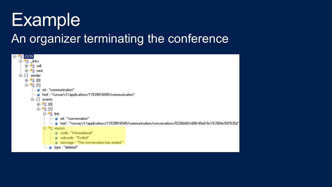 Example An organizer terminating the conference