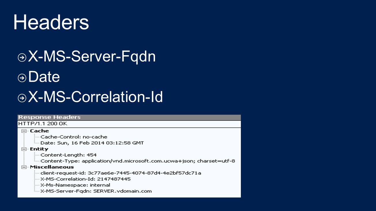 Headers X-MS-Server-Fqdn Date X-MS-Correlation-Id