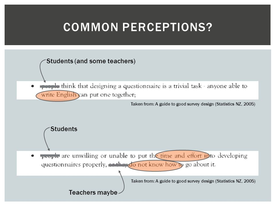 Common perceptions Students (and some teachers) Students