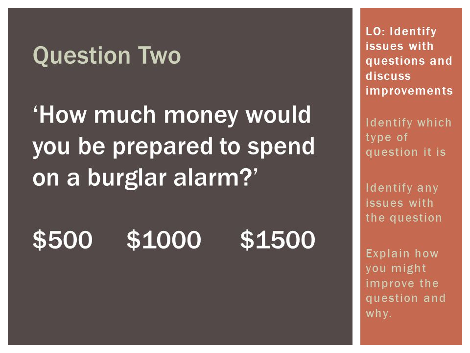'How much money would you be prepared to spend on a burglar alarm '