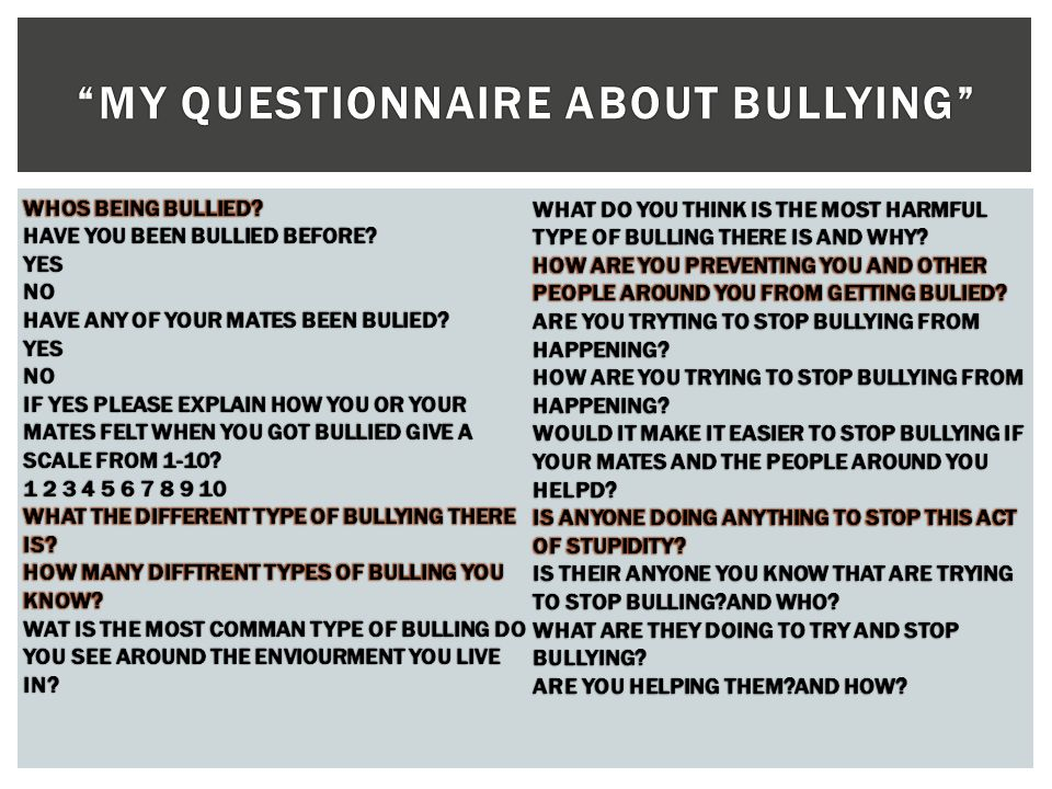 MY QUESTIONNAIRE ABOUT BULLYING