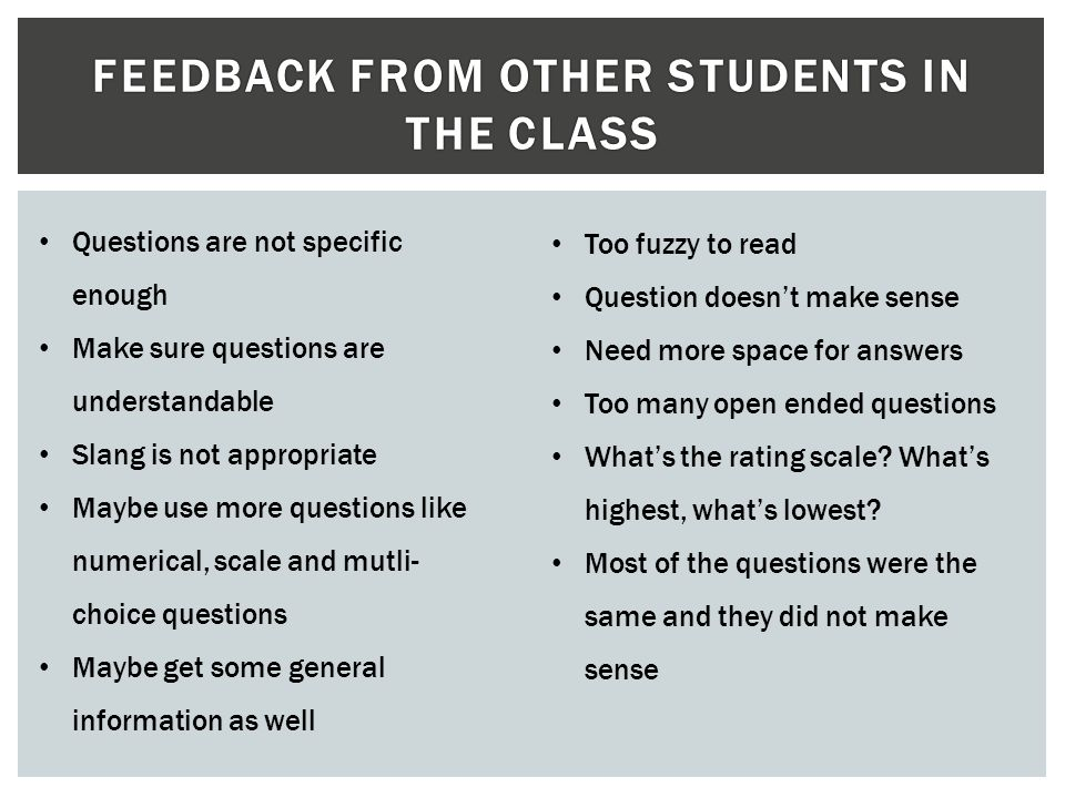 Feedback from other students in the class