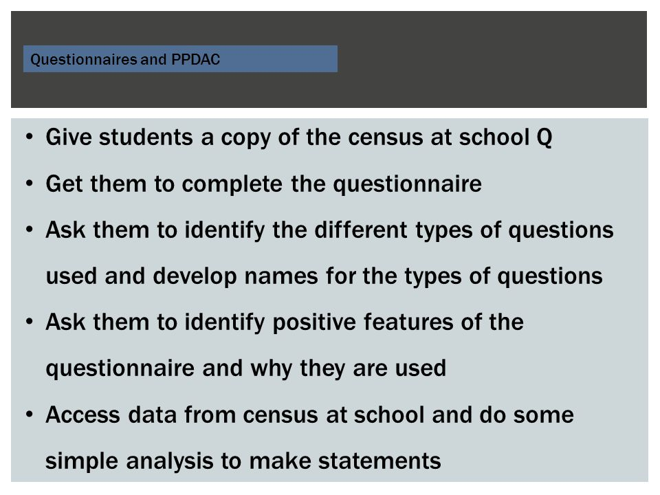 Give students a copy of the census at school Q