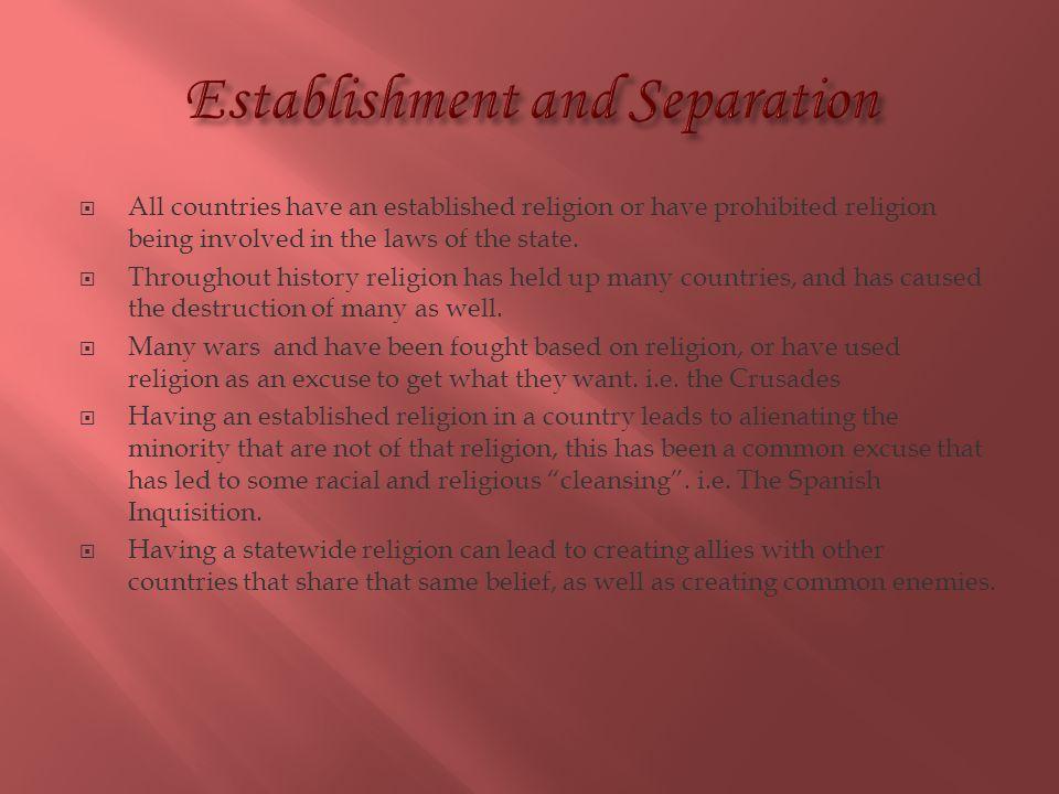 Establishment and Separation