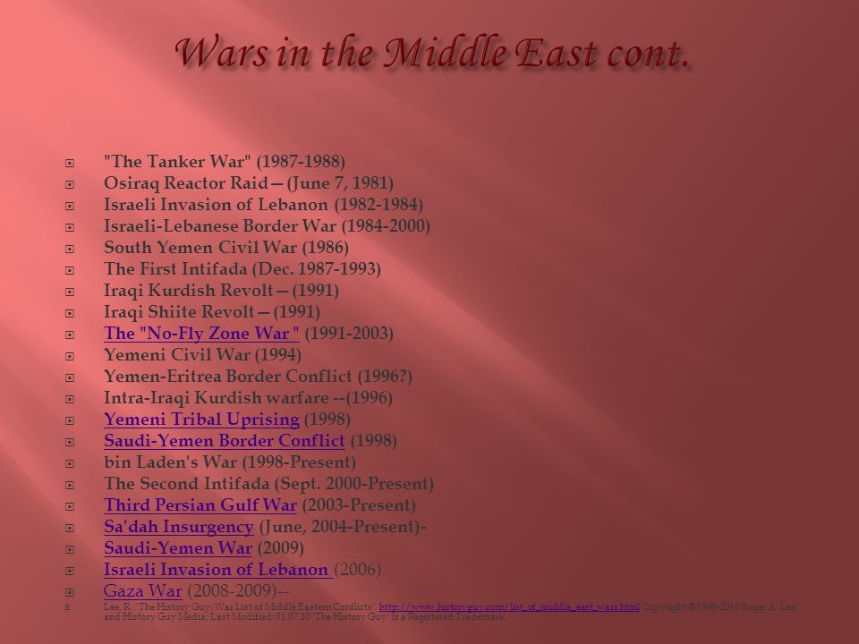 Wars in the Middle East cont.