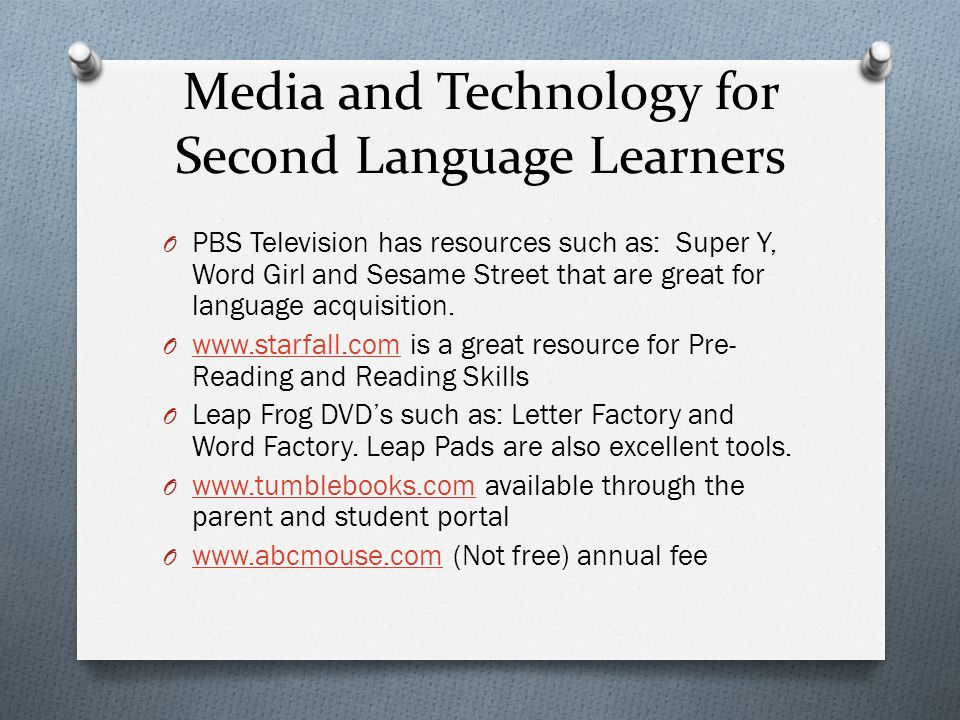 Media and Technology for Second Language Learners