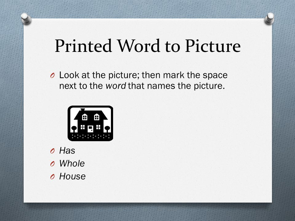 Printed Word to Picture