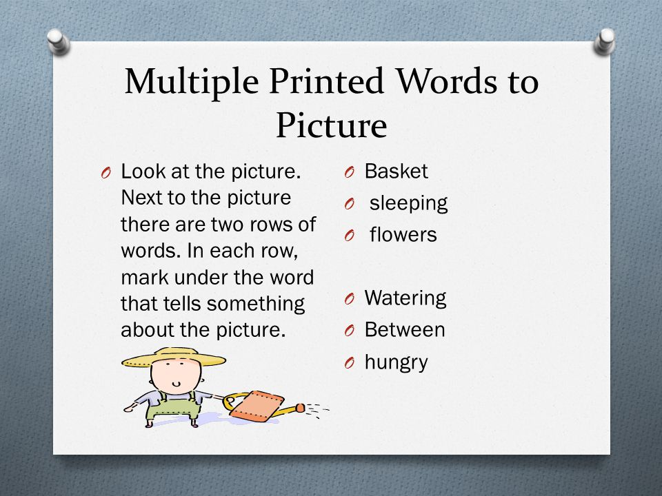 Multiple Printed Words to Picture