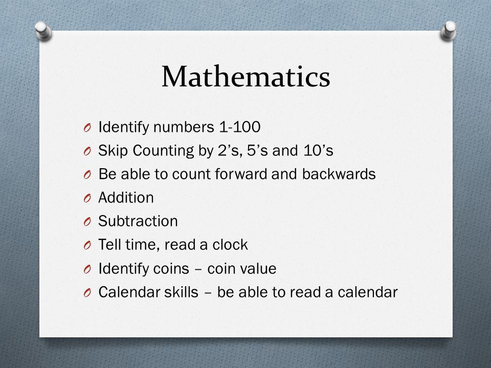 Mathematics Identify numbers 1-100 Skip Counting by 2's, 5's and 10's