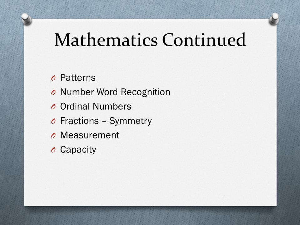 Mathematics Continued