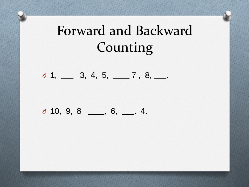 Forward and Backward Counting