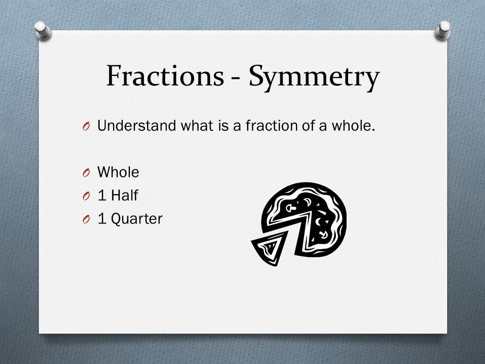 Fractions - Symmetry Understand what is a fraction of a whole. Whole
