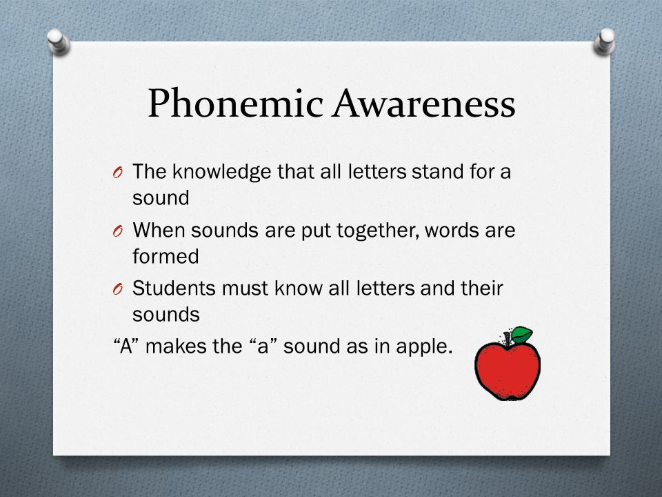 Phonemic Awareness The knowledge that all letters stand for a sound