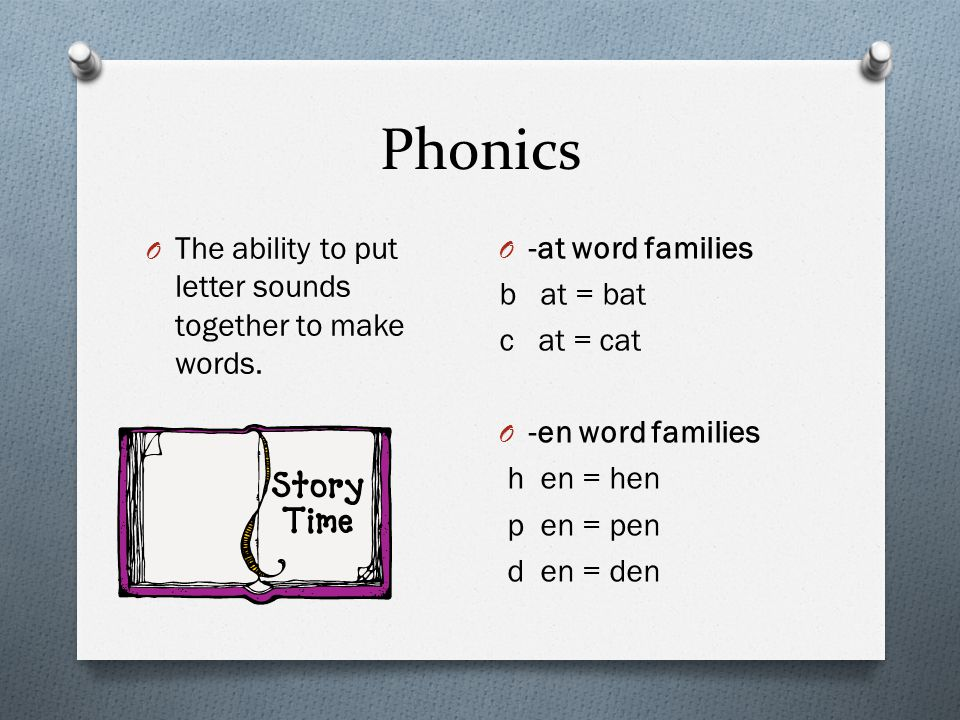 Phonics The ability to put letter sounds together to make words.