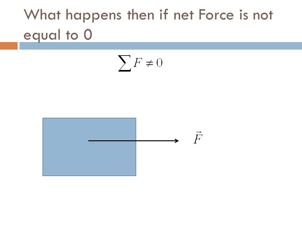 What happens then if net Force is not equal to 0