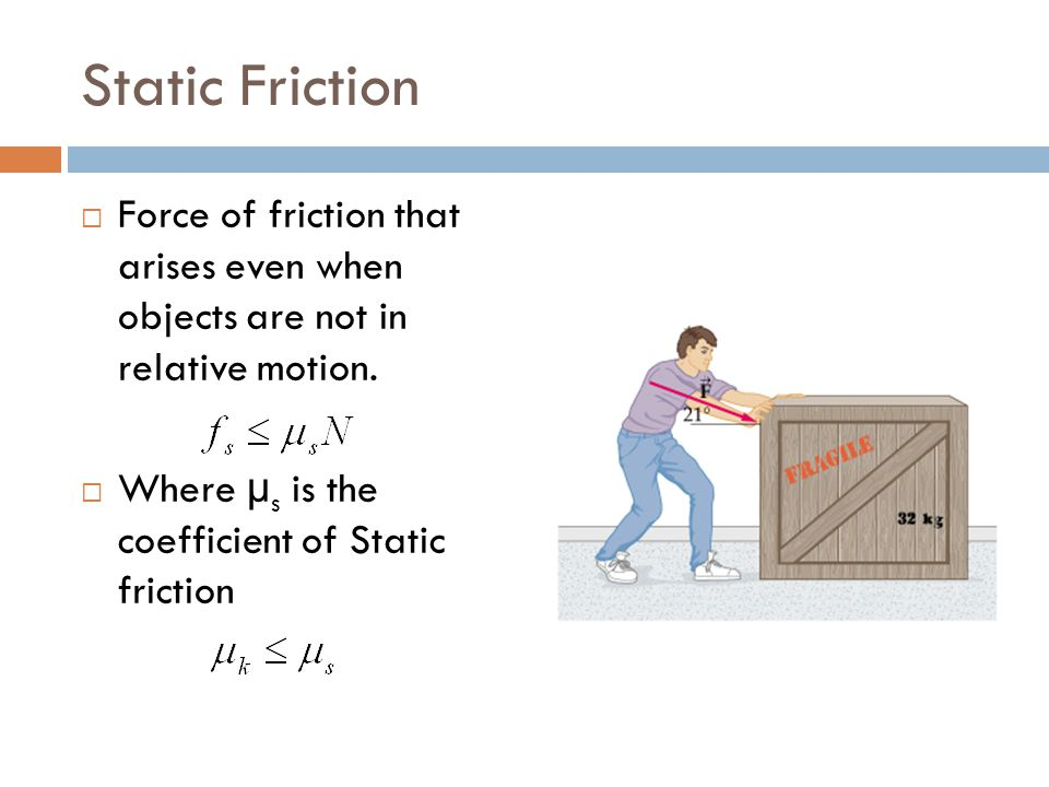 Static Friction Force of friction that arises even when objects are not in relative motion.