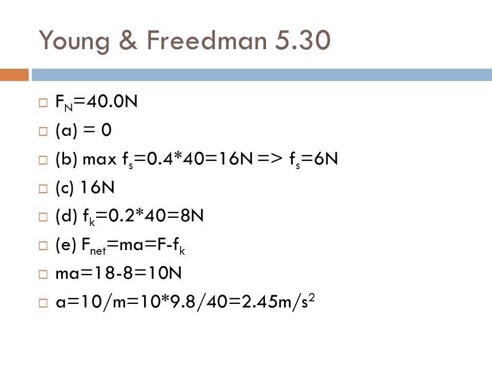 Young & Freedman 5.30 FN=40.0N (a) = 0