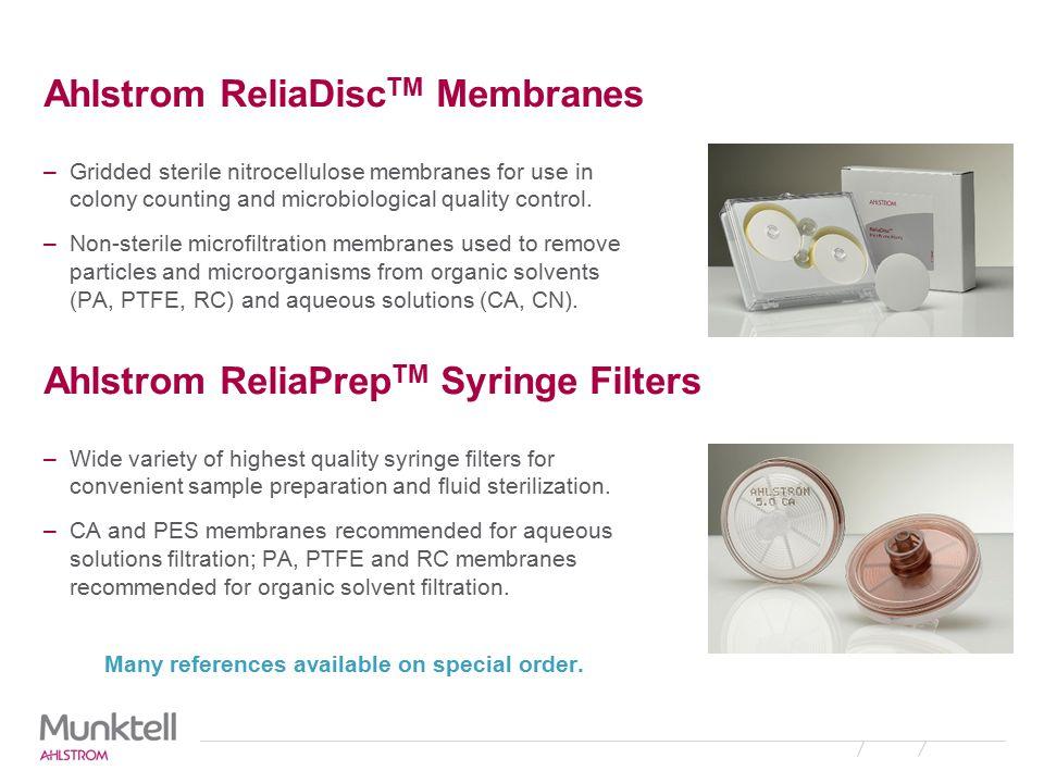 Ahlstrom ReliaDiscTM Membranes