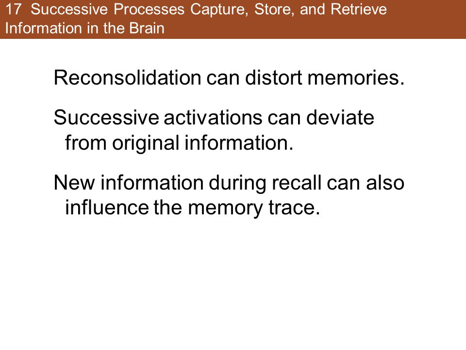Reconsolidation can distort memories.