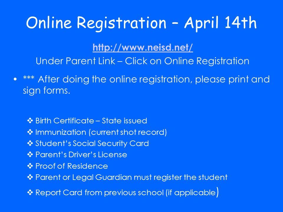 Online Registration – April 14th
