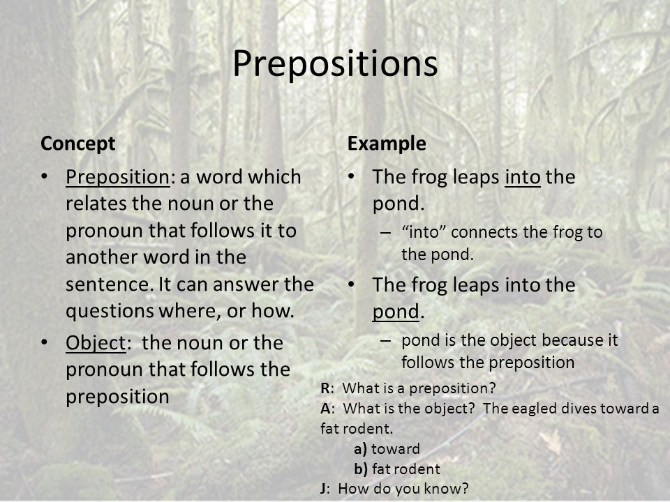 Prepositions Concept Example