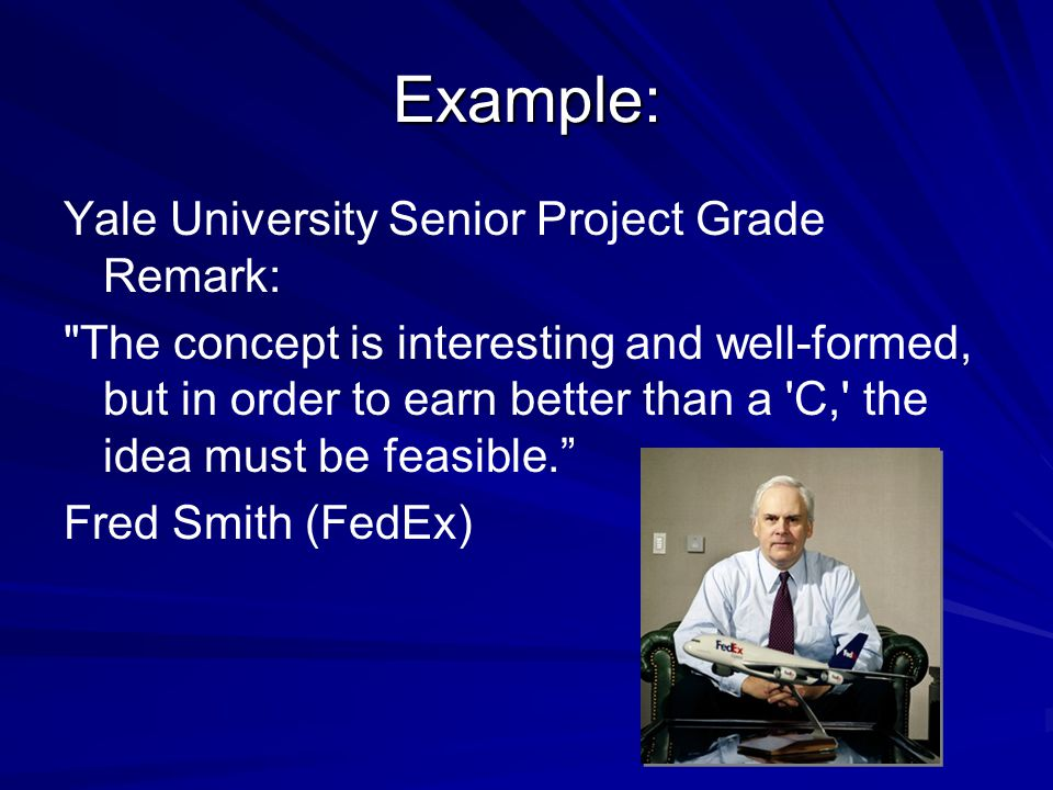 Example: Yale University Senior Project Grade Remark: