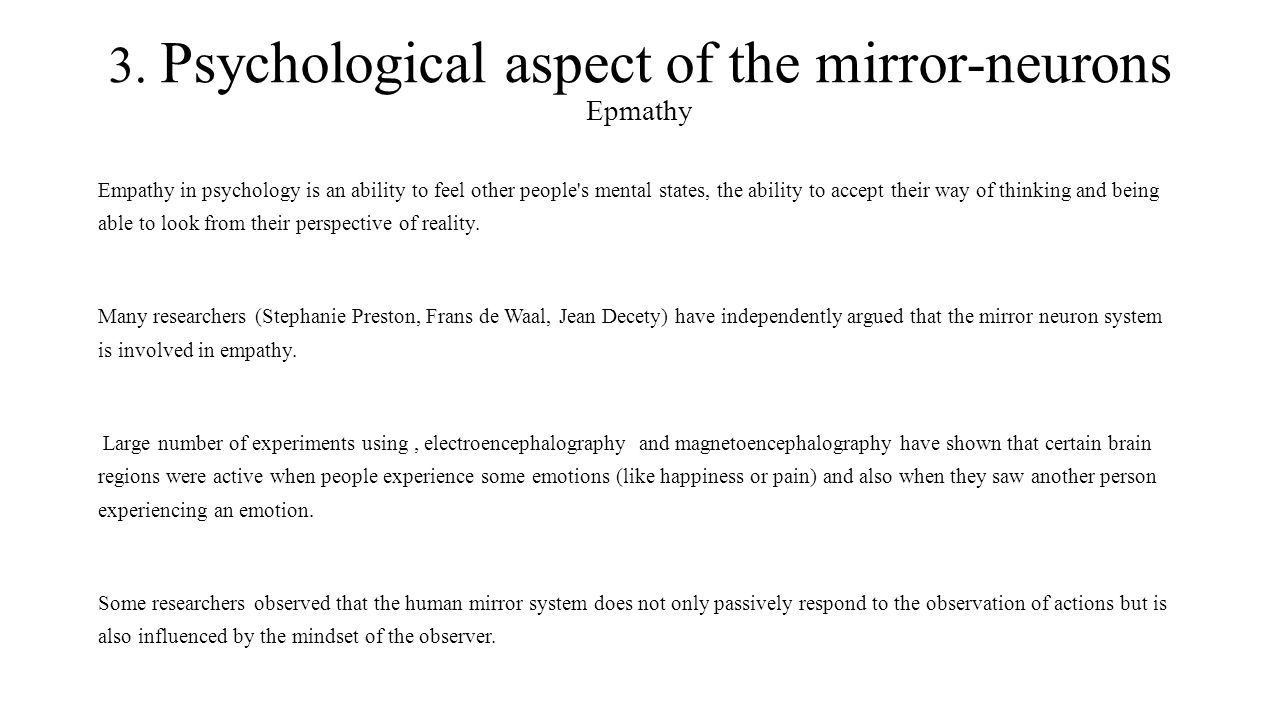 3. Psychological aspect of the mirror-neurons Epmathy
