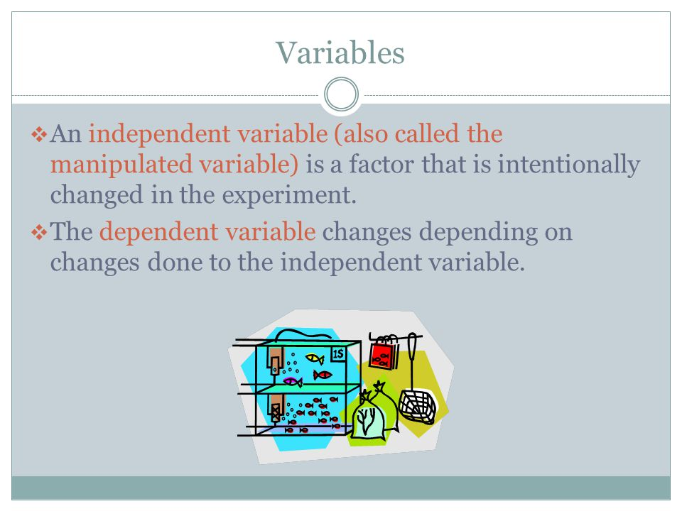 Variables An independent variable (also called the manipulated variable) is a factor that is intentionally changed in the experiment.