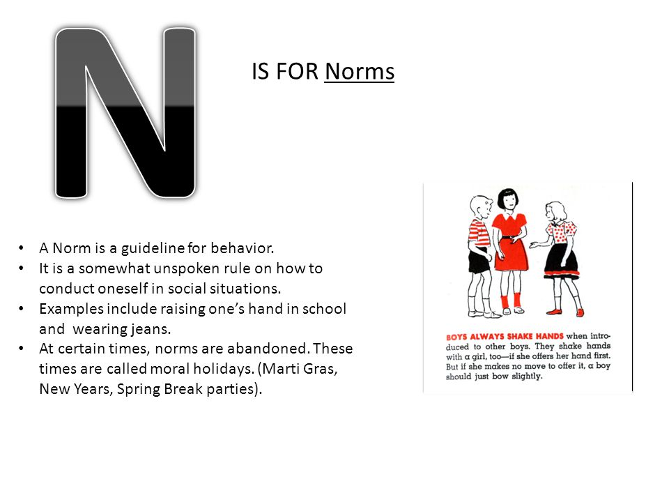 N IS FOR Norms A Norm is a guideline for behavior.