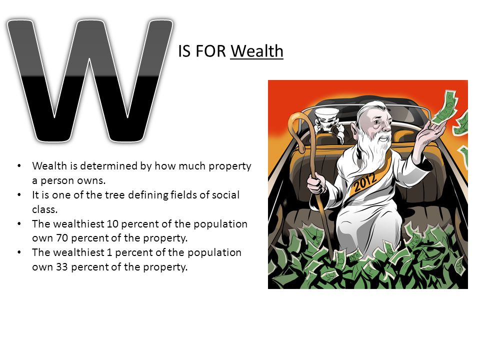 W IS FOR Wealth. Wealth is determined by how much property a person owns. It is one of the tree defining fields of social class.